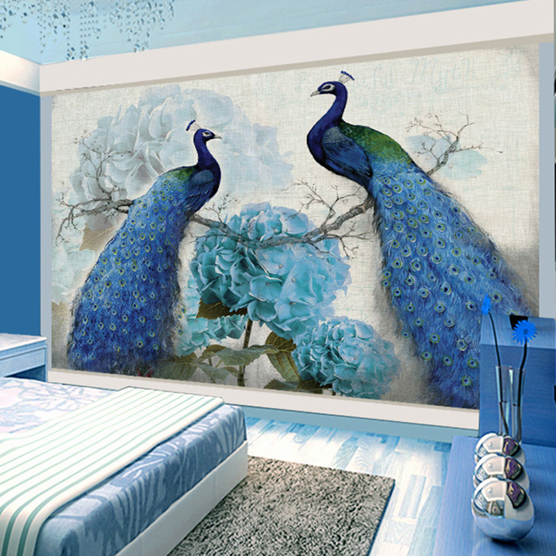 цены  Photo Wallpaper European Style 3D Stereo Blue Peacock Retro Flower Oil Painting Mural Living Room TV Backdrop Wall Papier Peint