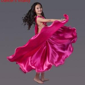 Image 4 - Luxury Spandex Dress Handmade Beaded Belly Dance Costume Girl 2 piece set for Children internship Performance skirt red green