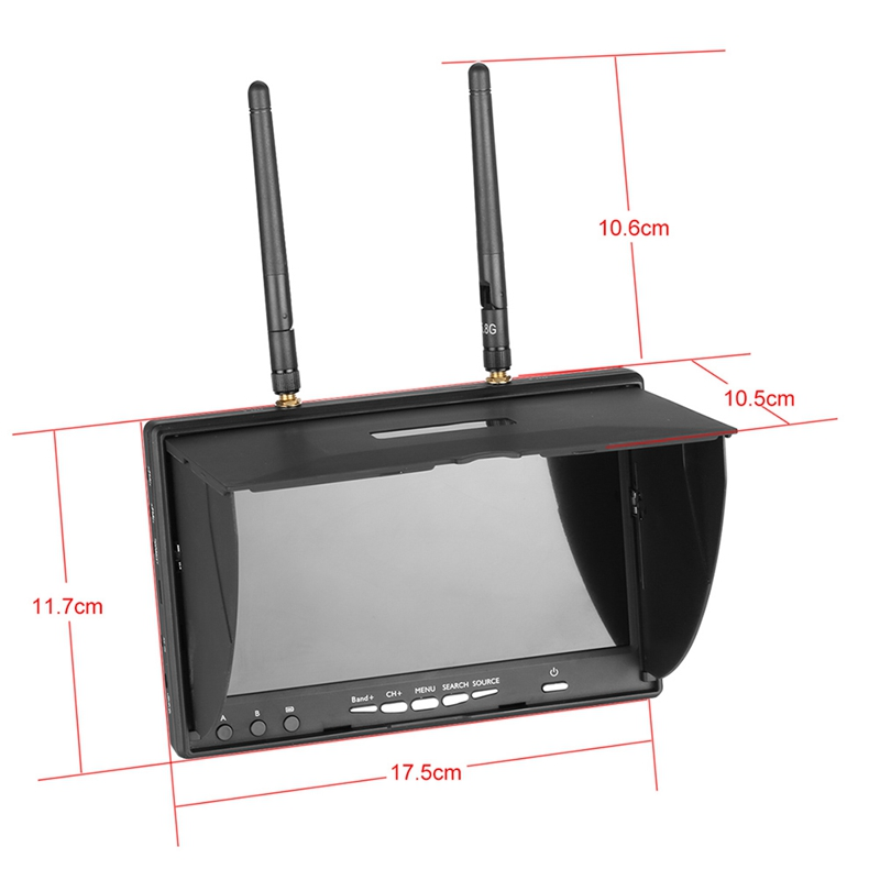 7 Inch TFT LCD Screen FPV Monitor LT5802S 800*480 Resolution 5.8G 40CH LED Backlight Multicopter With Build-in Battery Automatic