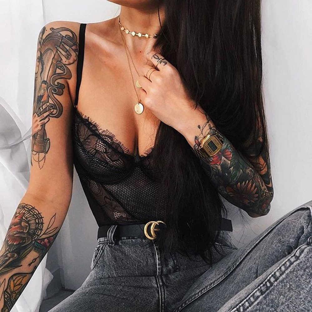 Ellolace сексуальный кружевной комбинезон женский комбинезон для женщин с v-образным вырезом на спине прозрачный сексуальный комбинезон 2019 Летний комбинезон Черный боди