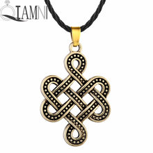 QIAMNI Punk Slavo Eternity Nodo Pendente Della Collana Infinity Regalo di Compleanno Uomo Donna Amuleto Nordico Vichingo Antique Jewelry Charm(China)