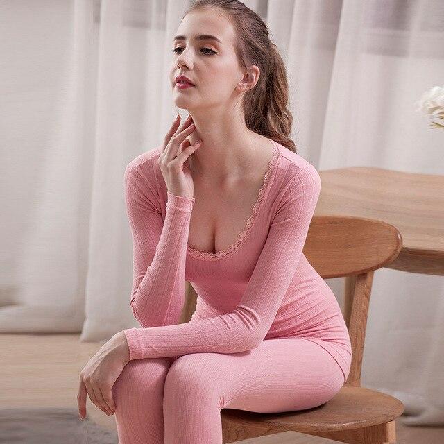 Termal iç çamaşır bayanlar o boyun seksi dantel katı pamuk sonbahar kış pijama uzun kollu pantolon takım elbise kadın pijama 2 parça setleri