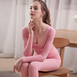 Image 1 - Thermal Underwear Ladies O Neck Sexy Lace Solid Cotton Autumn Winter Sleepwear Long Sleeve Pants Suit Women Pajamas 2 Piece Sets
