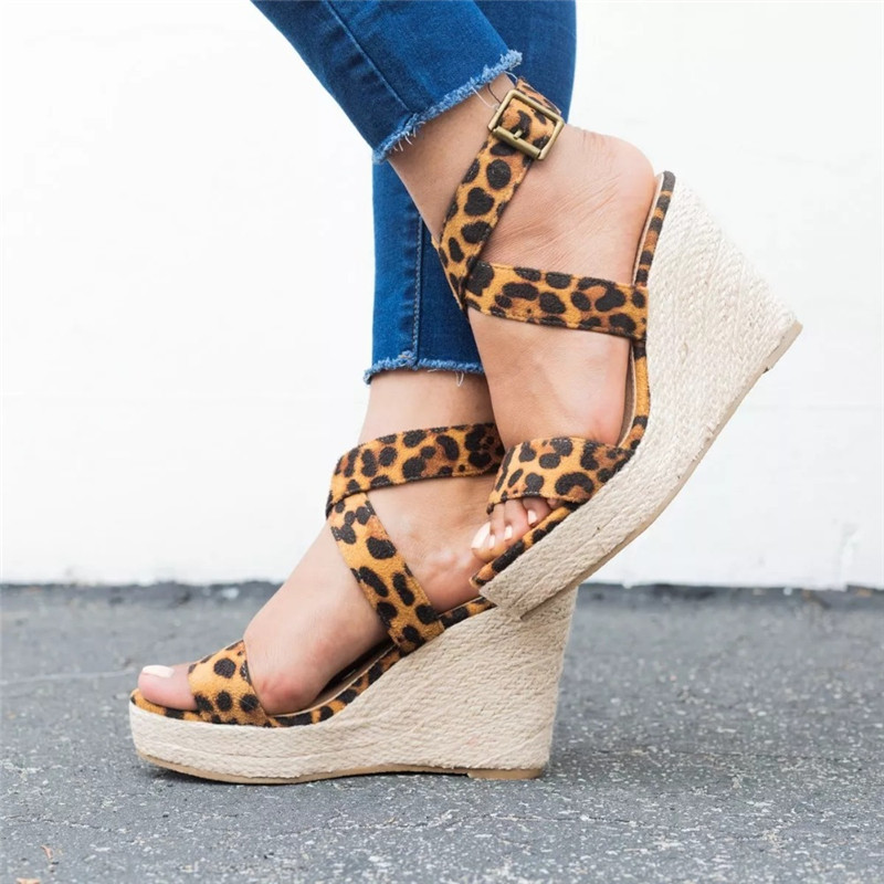 Leopard Wedge Sandals Summer Peep Toe Flock Buckle Strap Women Platform Espadrilles Sandal Plus Size 43 High Heels Shoes Female in High Heels from Shoes