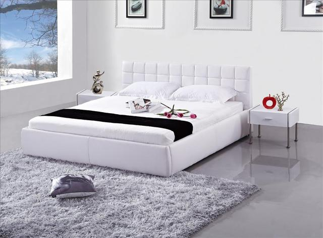 Modern genuine leather bed Set, Classic White leather Smart Style