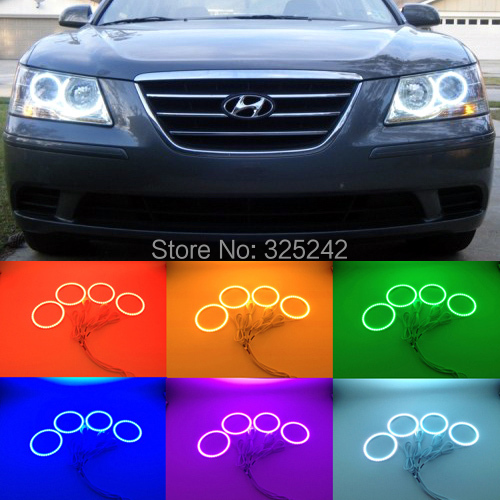 ФОТО For Hyundai Sonata NF Transform 2008 2009 2010 Excellent Angel Eyes kit Multi-Color Ultra bright RGB LED Angel Eyes Halo Rings