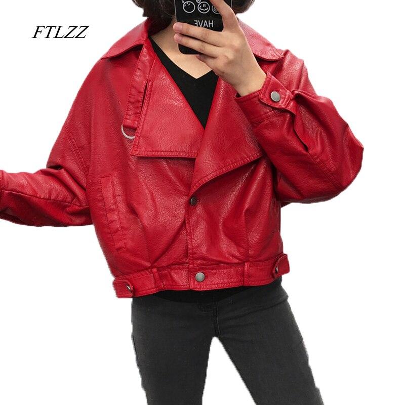 FTLZZ Faux   Leather   Jacket Women Vintage Loose Street Biker Coat Single Breasted Motorcycle   Leather   Jackets Female Short Outwear