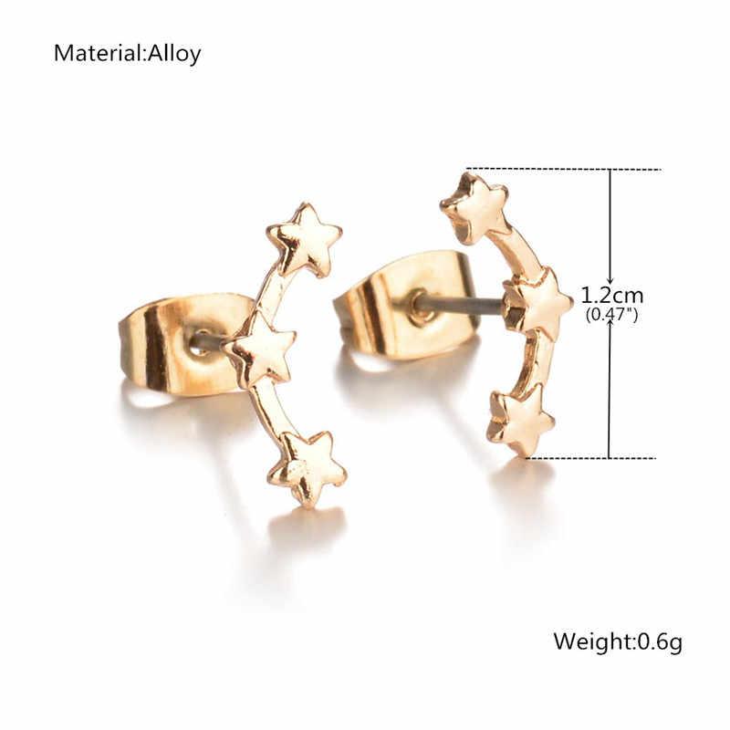 UAM modny prezent złoty/srebrny trzy gwiazdki kolczyki wkręty damskie nastolatki Boucle d'oreille delikatne kolczyki kobiety śliczne biżuteria