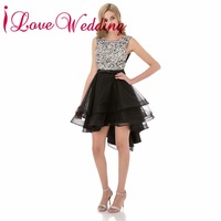 ILoveWedding A Line Prom Dresses Formal Tulle O Neck Crystal Beading Sequined Knee Length Party Bridal