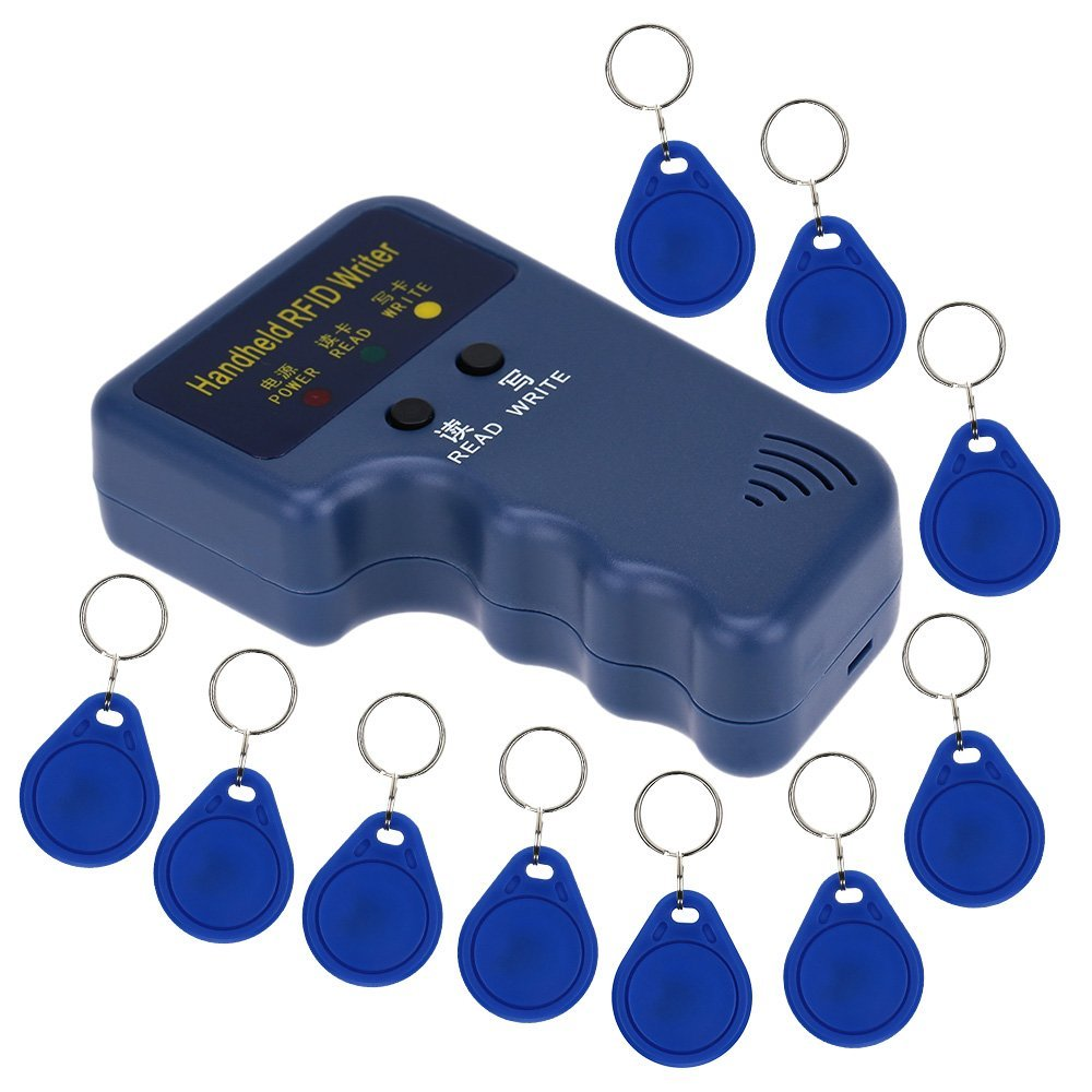 Handheld 125KHz RFID ID Card Writer/Copier Duplicator + 10pcs Writable EM4305 Key Cards Hot sale