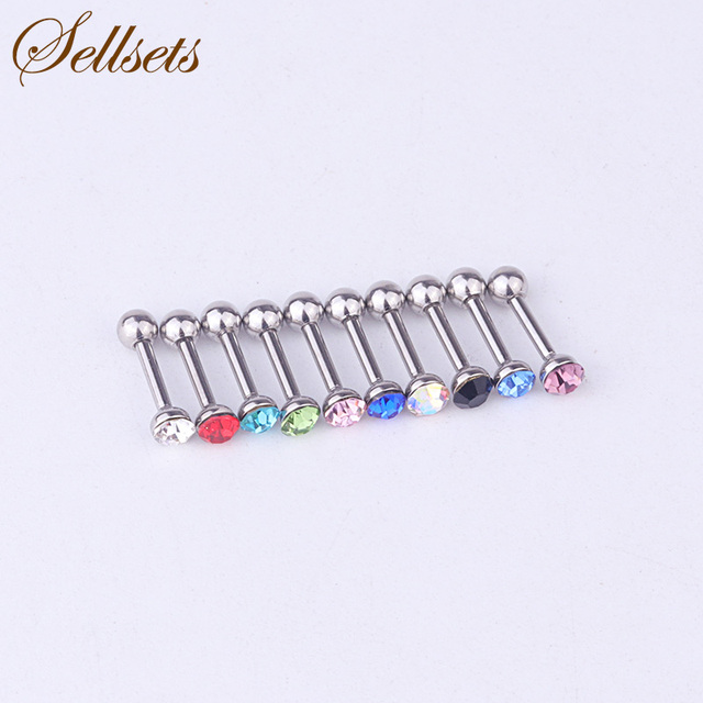 Sets 10pcs Multicolor Crystal Rhinestone Ear Studs Tragus Piercing Helix Cartilage Earrings Surgical Steel Body Jewelry