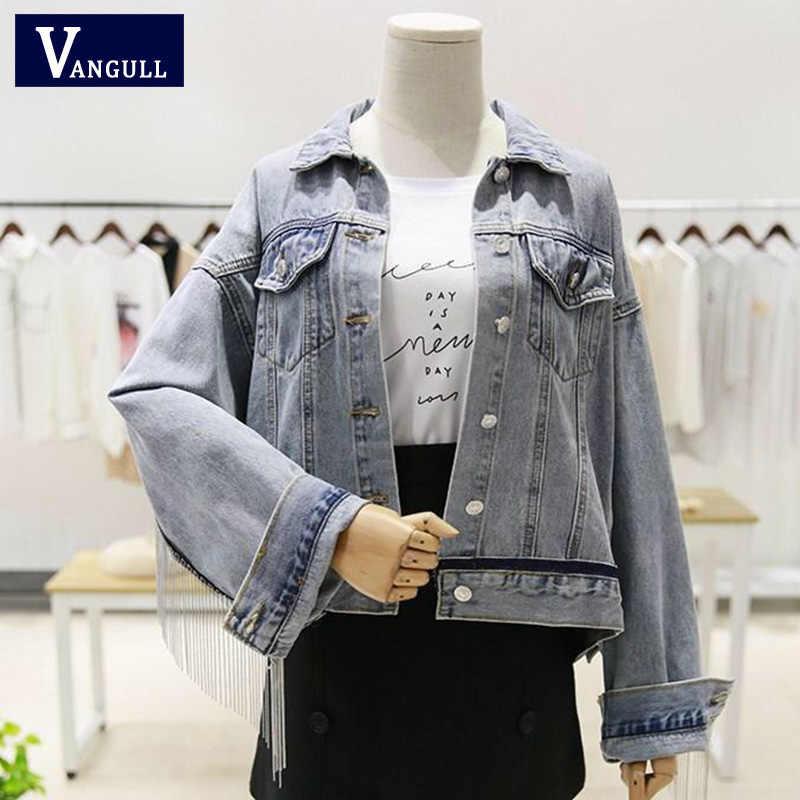 Vangull/Новинка; женская джинсовая куртка с длинным рукавом «летучая мышь»; сезон весна; короткие свободные джинсовые пальто с кисточками и бисером для девочек; модная верхняя одежда в стиле Харадзюку