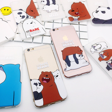 For Iphone 6 6plus 6s Plus 7 7plus 8 X Lovely We Bare Bears Phone Case Grizzly Panda Ice Bear tpu Soft Thick Clear Cartoon Cover