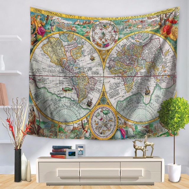 Polyester world map tapestry 150x130cm lesser bairam wall hanging polyester world map tapestry 150x130cm lesser bairam wall hanging throw blanket beach towel yoga mat home gumiabroncs Gallery