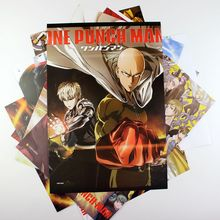8*(42x29cm)ONE PUNCH MAN Anime around poster Wall decoration Wall Sticker birthday gift Cartoon Pictures