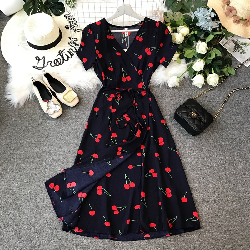 2019 Summer New Dress Sweet Women Cherry Printed A-Line Dress Short Sleeve Cross V Neck Tie Waist Ladies Dresses Vestidos