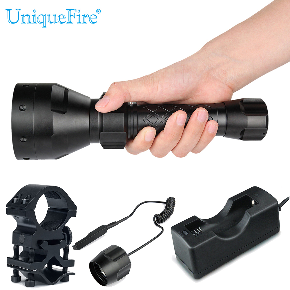 UniqueFire Night Vision T67 Flashlight UF-1405 IR 850nm Led Flashlight Kit: Lamp Torch, Remote Pressure,Scope Mount,Charger keyshare dual bulb night vision led light kit for remote control drones
