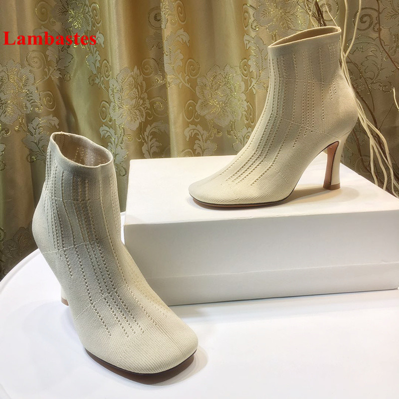 Autumn Winter Women Ankle High Boots Square Toe Slip On Thin Heel Stretch Women Boots Solid Rome Socks Shoes Botas Femeninas loft american vintage wall lamps industrial indoor lighting bedside lamps wall lights for home decoration 220v 240v e27 bulb