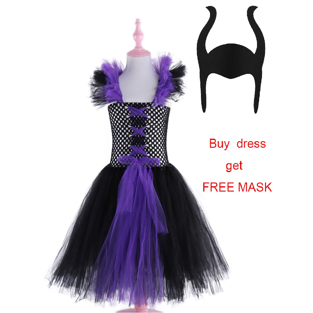 Maleficent Evil Queen Girls Tutu Dress Tulle Children Kids Party Dresses for Girls Carnival Halloween Witch Cosplay Costume-in Dresses from Mother & Kids
