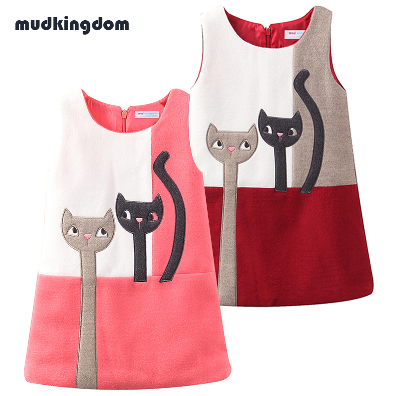 Mudkingdom Toddler Girls Winter Woolen Kitty Dress O Neck Sleeveless Animal Printed Vest Dress Kids Baby Girl Cute Clothes 2017 new kids girls fashion o neck sleeveless dress cute animals print dress girls a line dress clear