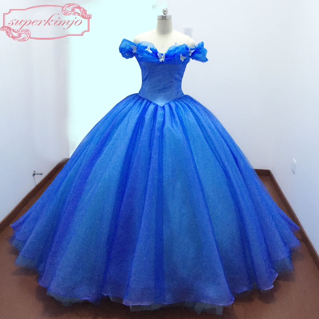 2a219f7225 Actual Image Evening Dresses Gowns Court Train Off the Shoulder Butterfly Blue  Ball Gown Cinderella Prom Dresses Real Picture