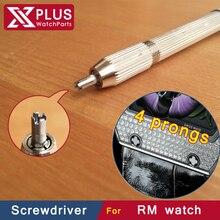 Última actualización de las versiones diseño 2.7 mm 4 cornamenta Pentalobe RM reloj destornillador para RM019 RM055 RM027 RM061 venda de reloj de reparación kit de herramientas