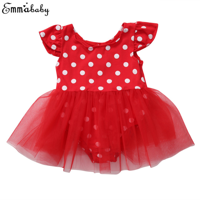 f3881bf0482 2017 Toddler Kid Baby Girls Dress Polka Dot Sundress Red Playsuit Mesh Tutu  Summer Party Dresses Age 0-3Years