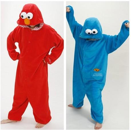 1ec446d99301 Blue Cookie Monster Red Sesame Street Elmo Animal Cos Party Pajamas Onesie  for Adults One Piece Pyjamas Hooded Sleepwear