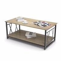 Журнальный столик Dewel с полкой для хранения промышленный современный деревенский журнальный столик 47 дюймов для гостиной (светлое дерево з
