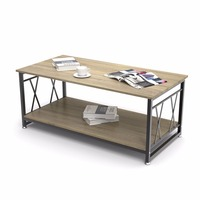 Dewel Coffee Table with Storage Shelf Industrial Modern Rustic 47 inch Coffee Table for Living Room (Light Wood Grain)