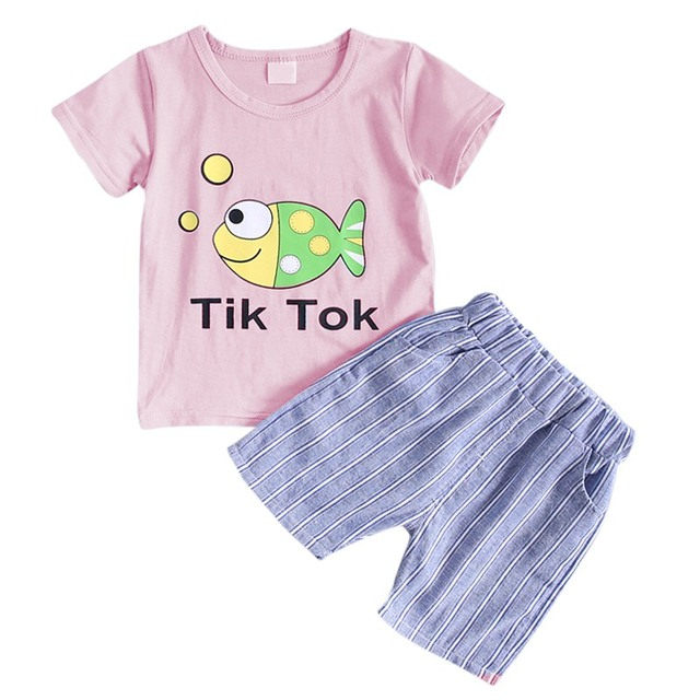 b77b22b536ba Summer Baby Boys Girls Short Cotton Sleeve Cartoon Small Fish Print Tops T- Shirts+Shorts Casual Outfits Sets 1-4Y