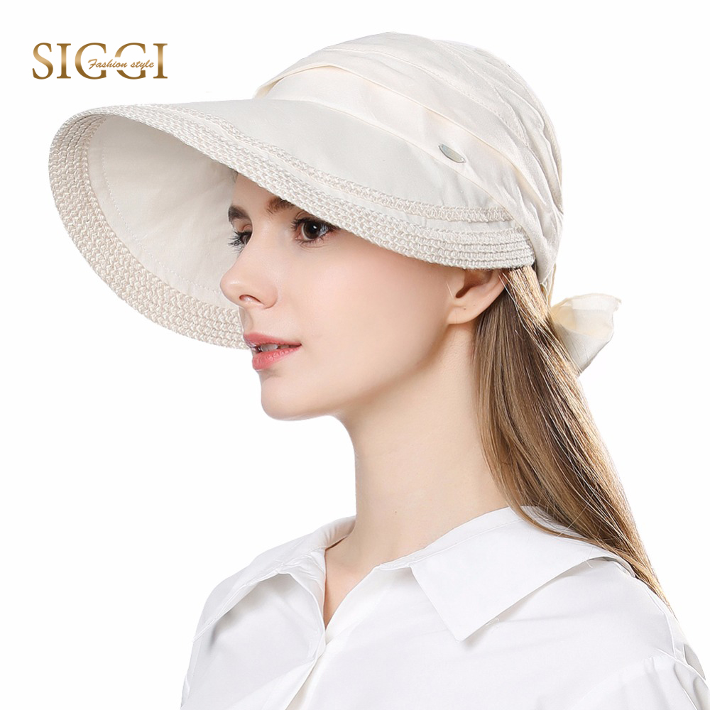 FANCET Para Mujer Verano Sombreros para el Sol Visor de ala ancha Empaquetable 100% Lino UPF50 + UV Caps Moda Bowknot Gorros Moda 89326