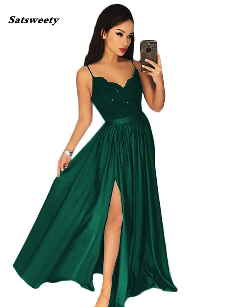 Bridesmaid Dresses Long Spaghetti Strap Lace Satin Elegant Formal Party Gowns Sexy Side Split Prom Gowns Robe De Soiree