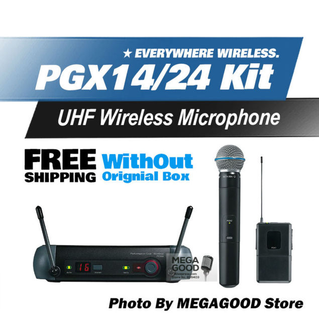 Free Shipping! PGX PGX14 PGX24 BETA UHF Wireless Microphone Karaoke System BodyPack BETA58 Handheld Mic and Without Original Box