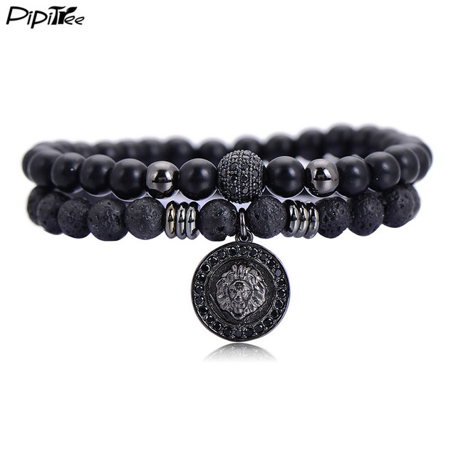 Pipitree 2pcs Set Brand Lava Beads Bracelets Men Jewelry Cz Lion