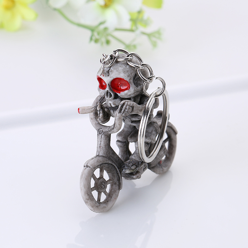Bicycle Skull Skeleton Keychain Keyring Holder Trendy Casual Trinket Souvenir Novelty Jewelry For Christmas Gifts