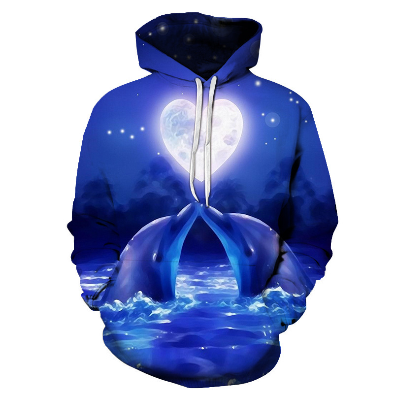 2019 New Dolphin Hoodie Men Women 3D Sweatshirt  Fashion Casual Tracksuits Boy Jackets Hooded Pullover Hip Hop Street Sweatshirt