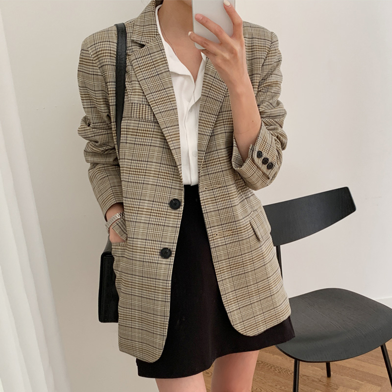Women's Suit Jacket New Autumn Korean Version Of The Loose Straight Casual Suit Plaid Lady Elegant Jacket 2019
