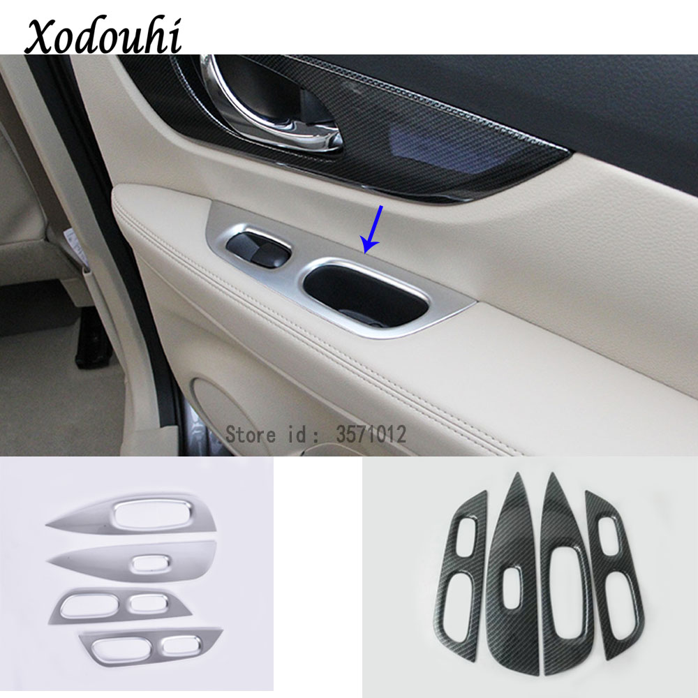 Für Nissan X-Trail XTrail T32/Rogue 2017 2018 2019 auto handlauf armlehne tür Fenster glas schalter panel trim rahmen molding 4 stücke