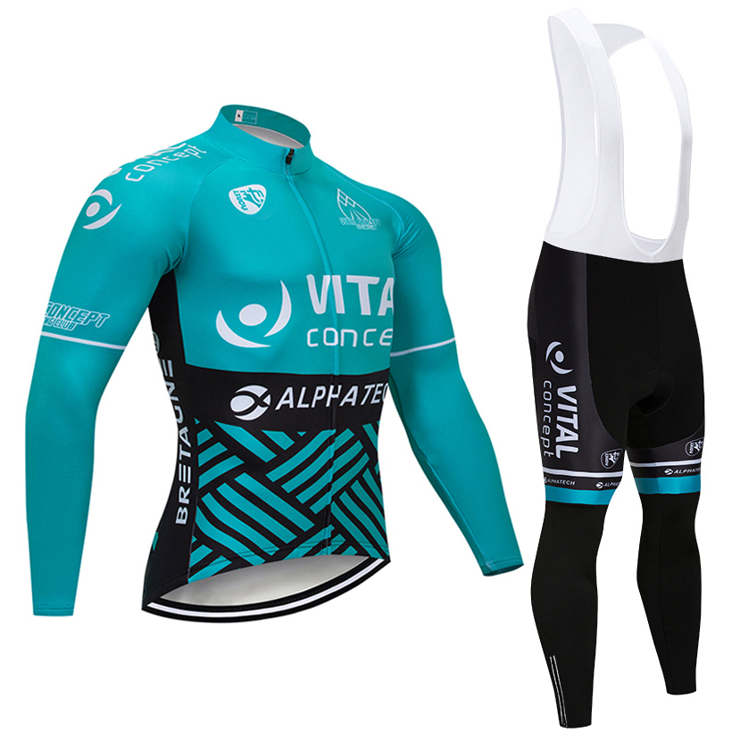 New TEAM VITAL CYCLING JERSEY Bibs pants set Ropa Ciclismo MENS winter thermal fleece pro Bike