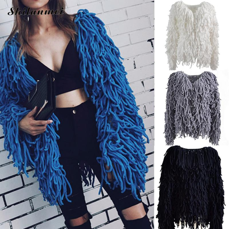 Women Winter Shaggy Coat Miracle Tassel Curly Fur Coat loose knitted Shaggy Fluffy Faux  ...