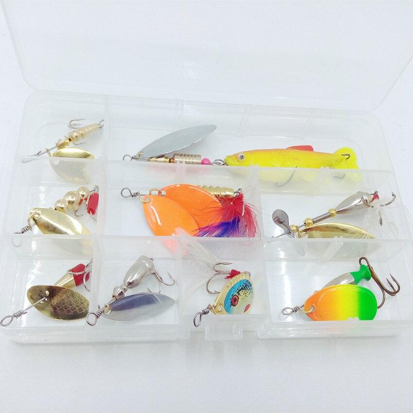 Ufishing Spoon Fishing Lures Kit Spoonbait Fishing Set Quality Spoon Bait Set Metal Lure 9 Pcs/Set