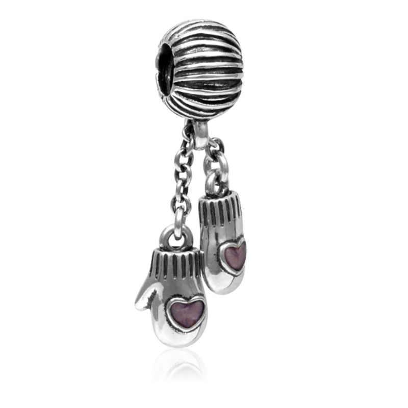 Rękawiczki koraliki pasuje Pandora Charms oryginalna bransoletka biżuteria walentynki Harajuku Bijoux DGB115