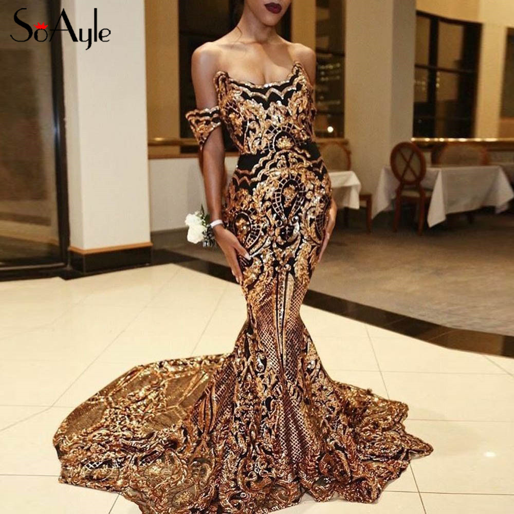 Prom black prom dress with gold sequins