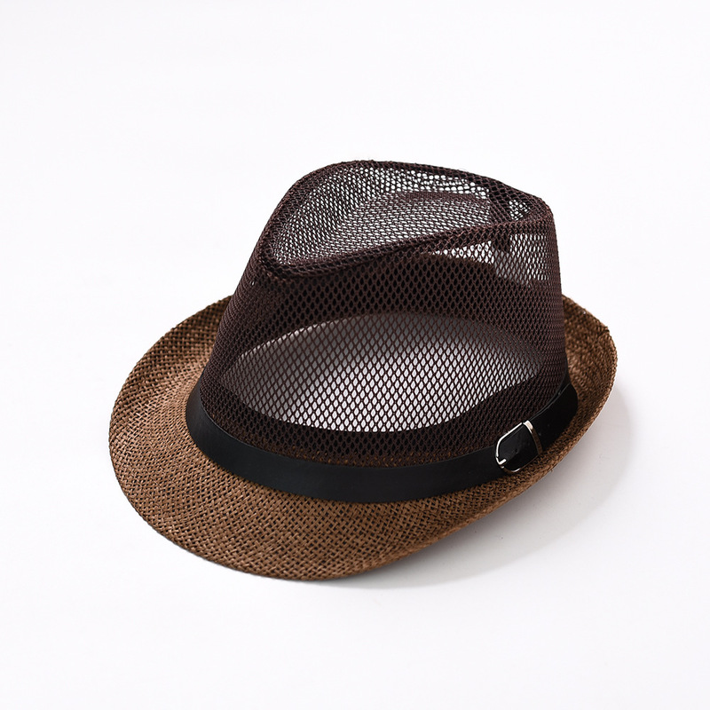 Bowl Hat, Men And Women Leisure, European And American Ventilated Mesh Jazz Hat Couples Summer Beach Shade Foreign Trade Hat