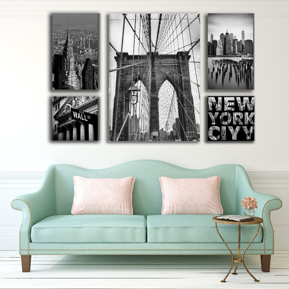 5 in 1 Black and white new york city london red bus wall picture canvas art MDF framed painting ready to hang printing cheap