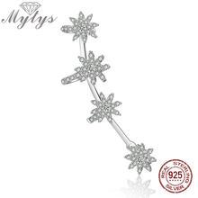 Mytys 925 Sterling Silver One Ear Earring Cuff Costume Jewelry High Level Zircon Flower Clip Earrings for Women CE395(China)