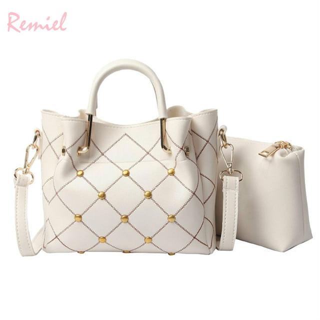 7d12bc6a0f30 British Fashion Women s Designer Handbag 2018 New High quality PU Leather  Women bag Plaid Rivet Tote bag Shoulder Messenger Bags