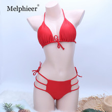 Swimwear Red Bikini 2019 Lace Up Swimsuit Cut Out Two-pieces Bikini Set Bathing suit Women Bather Maillot De Bain Swimming Suit