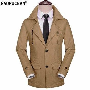 100% Cotton Men Jacket Zipper Pockets Khaki Green Black Long Street Wear Spring Autumn Winter Male Slim Outwear Man Trench